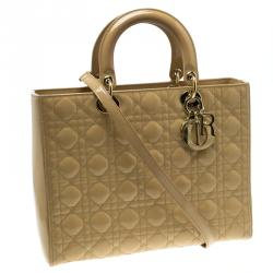 Dior Beige Patent Leather Large Lady Dior Tote