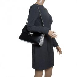 Dior Off Black/White Leather Large Diorling Shoulder Bag