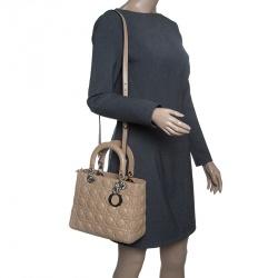 Dior Light Brown Leather Medium Lady Dior Tote