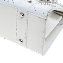 Dior White Cannage Studded Leather Lady Dior East West Shoulder Bag