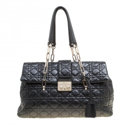 c71ff426c667 Dior Black Cannage Quilted Leather Large New Lock Satchel