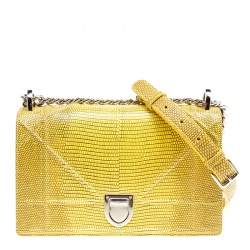 Dior Yellow Lizard Skin Small Diorama Shoulder Bag