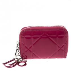 Dior Pink Cannage Patent Leather Tutti Coin Purse