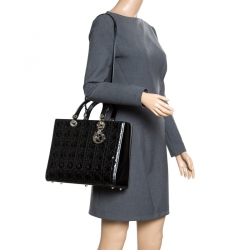 Dior Black Patent Leather Large Lady Dior Tote 8f8f32010ae6a