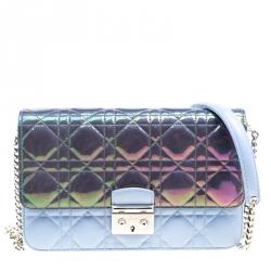 9d6fda4c8728 Dior City Metallic Blue Sky Blue Cannage Leather Miss Dior Promenade  Shoulder Bag