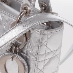 Christian Dior Metallic Silver Micro Lady Dior Bag