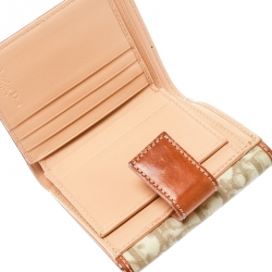 b0495508d22 Dior Beige/Pink Diorissimo Coated Canvas and Leather Compact Wallet
