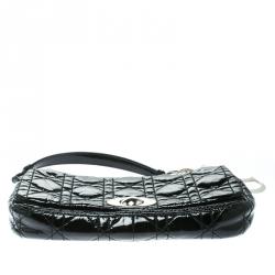 Dior Black Cannage Patent Leather Rendezvous Shoulder Bag