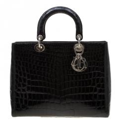Dior Black Crocodile Large Lady Dior Tote