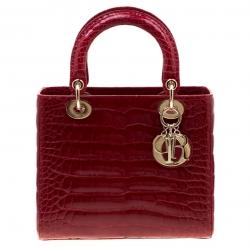Dior Red Alligator Leather Medium Lady Dior Tote
