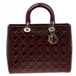 b1476448 Dior Burgundy Patent Leather Large Lady Dior Tote