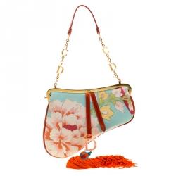 Dior Multicolor Floral Satin Limited Edition 0132 Fringe Saddle Bag