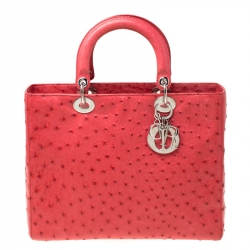 Dior Cinnamon Red Ostrich Large Lady Dior Tote