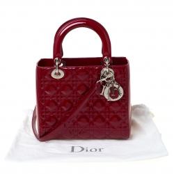 Dior Red Patent Cannage Quilted Leather Medium Lady Dior Tote