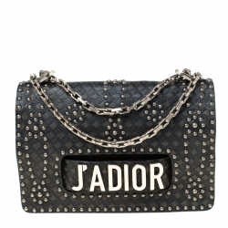 Dior Black Leather Studded J'adior Flap Shoulder Bag