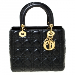 Dior Black Cannage Quilted Leather Medium Lady Dior Tote