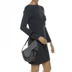 Dior Blue Diorissimo Canvas and Leather Saddle Bag