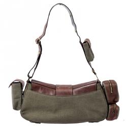 Dior Khaki/Brown Leather Street Chic Columbus Avenue Multipocket Shoulder Bag