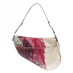 Dior Multicolor Printed Canvas and Leather Saddle Bag
