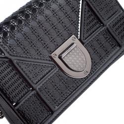 Dior Metallic Black Cannage Patent Leather Baby Diorama Shoulder Bag
