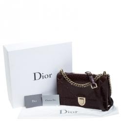 Dior Dark Maroon Crackled Patent Leather Medium Diorama Shoulder Bag