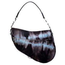 Dior Brown/Blue Pony Hair Saddle Bag