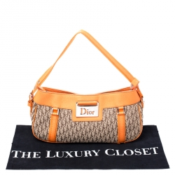 Dior Beige/Orange Diorissimo Canvas and Leather Shoulder Bag