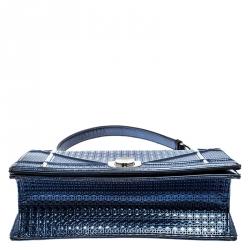 Dior Metallic Blue Micro Cannage Patent Leather Medium Diorama Shoulder Bag
