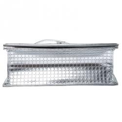 Dior Metallic Silver Patent Leather Medium Diorama Flap Shoulder Bag