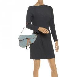 Dior Blue Denim and Leather Saddle Bag