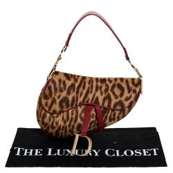 Dior Brown Leopard Pony Hair Saddle Bag