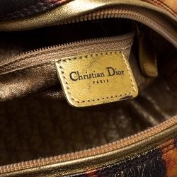 Dior Metallic Gold/Orange Printed Leather Gambler Dice Bowling Bag