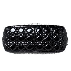 Dior Black Cannage Patent Leather New Lock Shoulder Bag