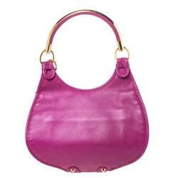 Dior Magenta Leather Jeweled Flap Hobo