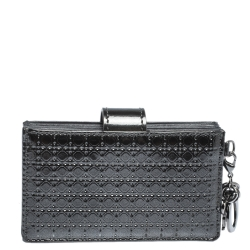 Dior Metallic Grey Micro Cannage Leather Gusset Card Holder