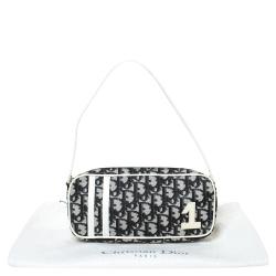 Dior White/Black Oblique Canvas and Patent Leather No.1 Pochette Bag