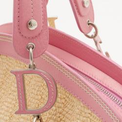 Dior Limited Edition Wicker Frame Bag with Raffia Flowers