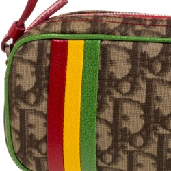 Dior Multicolor Oblique Coated Canvas and Leather Vintage Rasta 1 Pochette Bag