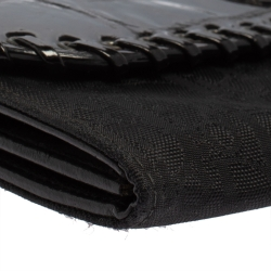 Dior Black Croc Embossed Patent Leather and Canvas Continental Wallet