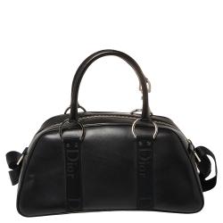Dior Black Leather Crytal Hook Bowling Bag