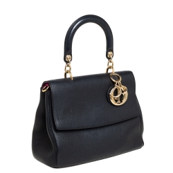 Dior Black Leather Small Be Dior Flap Top Handle Bag