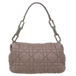 Dior Beige Cannage Quilted Lambskin Large Flap Shoulder Bag