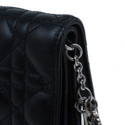 Dior Black Lambskin Cannage Clutch