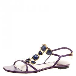 9adeeec5dd3 Dior Purple Leather Cabochon Embellished Flat Sandals Size 40