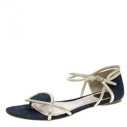 85f13562a19 Dior Blue Denim Ankle Strap Thong Flat Sandals Size 40