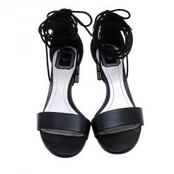 Dior Black Leather Rainbow Stellar Block Heel Lace Up Sandals Size 40.5