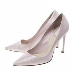 Dior Blush Pink Shimmering Suede Pointed Toe Pumps Size 38.5