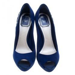 Dior Blue Suede and Patent Leather Miss Dior Peep Toe Platform Pumps Size 38.5
