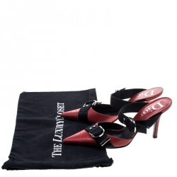 Dior Red Leather Pointed Toe Mules Size 37