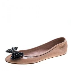 5b5fb6e3e11 Dior Beige Patent Cannage Leather Bow Detail Ballet Flats Size 41